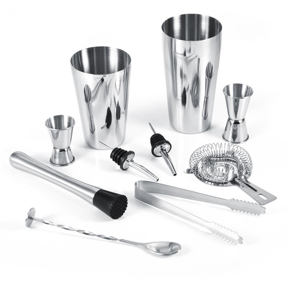 10 pièces/ensemble acier inoxydable Cocktail Shaker outils ensemble glace Tong mélange cuillère verseurs Bar outil 600 ml 750 ml Shaker outils à main ensemble.
