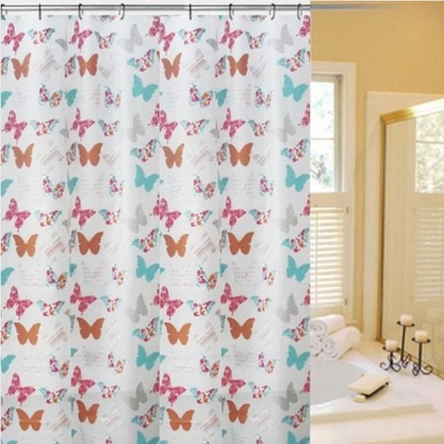 20pcs Lot Free Shipping Thickening Waterproof Grid Shower Curtain Starfish Pattern Bathroom Butterfly Tb007j