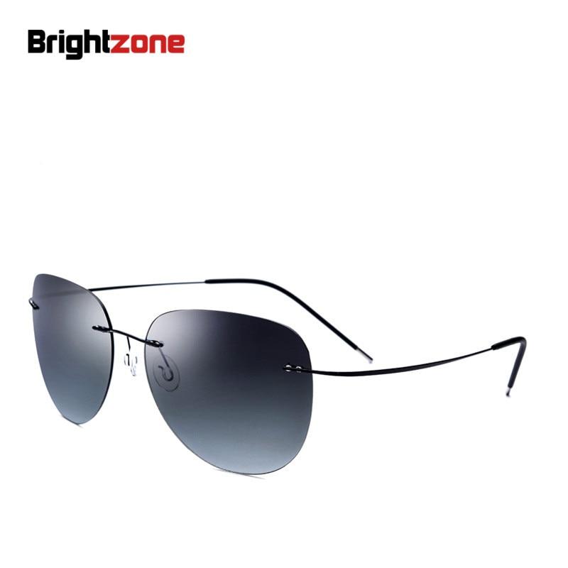 Más alta calidad Nuevo marco de titanio gradiente sin montura gafas de sol gafas hombres mujeres gafas de conducción con estuche de gafas