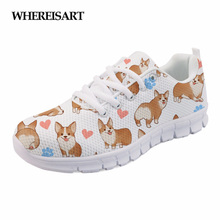 WHEREISART 2019 Spring Shoes Woman Cute Dog Printed Female Casual Sneakers Ladies Flats Breathable Zapatillas Mujer Sapato Femme