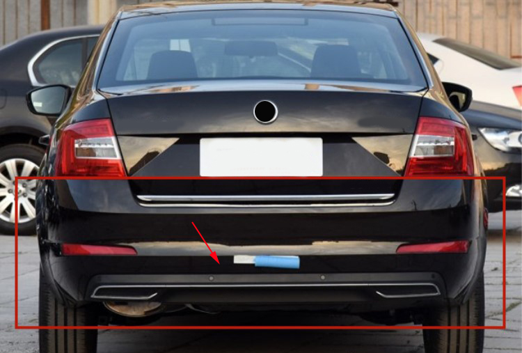 High Quality Black PP Rear Bumper Diffuser,Auto Car Rear lip with chrome line for skoda Octavia 4dr or 5dr 2014 2015 2016 2017 high quality chrome tail light cover for skoda octavia mk2 04 08 free shipping