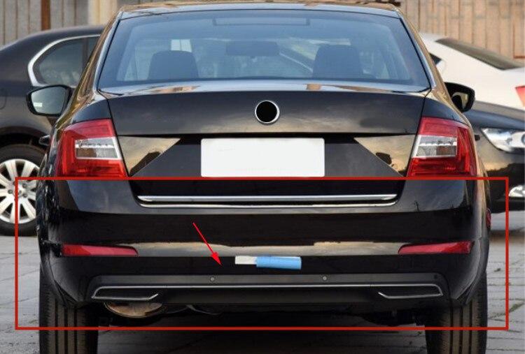High Quality Black PP Rear Bumper Diffuser,Auto Car Rear lip with chrome line for skoda Octavia 4dr or 5dr 2014 2015 2016 2017