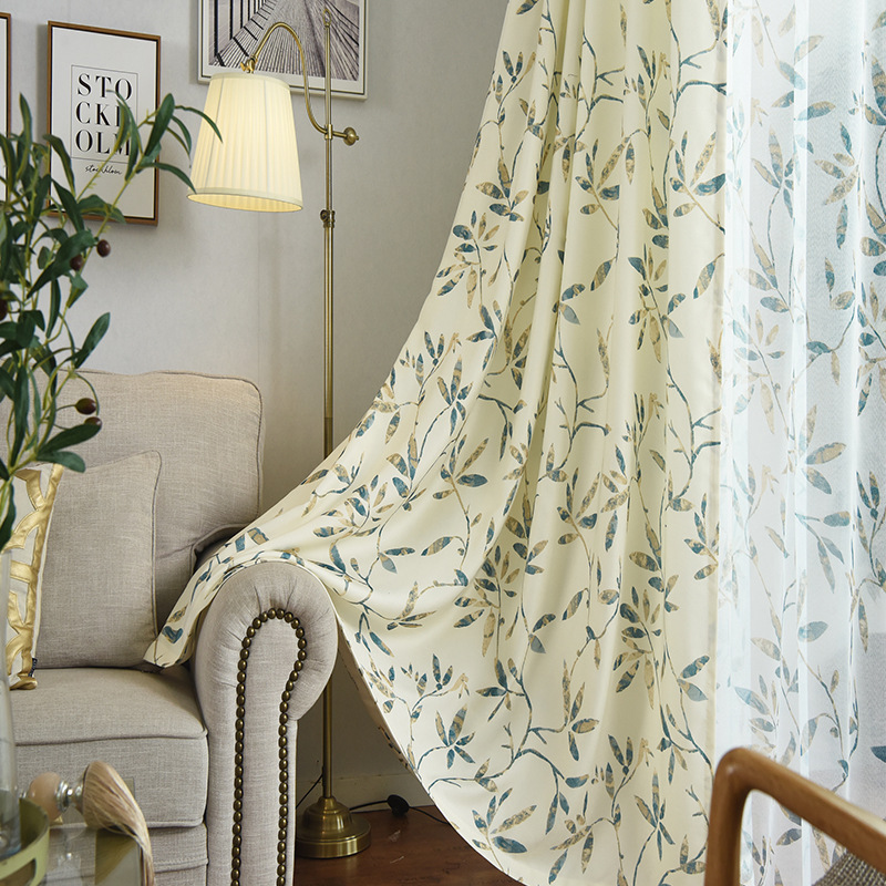 Useful New Single-sided Curtains For Living Dining Room Bedroom Printed Velvet Hemp New Half Shade Curtains Leaves Home & Garden