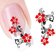 Newest DIY Red Flowers Design Nail Tip Art Water Transfers Decal Sticker Watermelon Manicure Decals Nails Accessoires Hot(China)