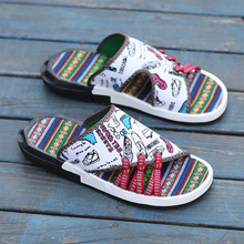 Graffiti Men Slippers 2019 Summer Mens Shoes Casual Breathable Beach Sandals Flip Flops Slides Flat