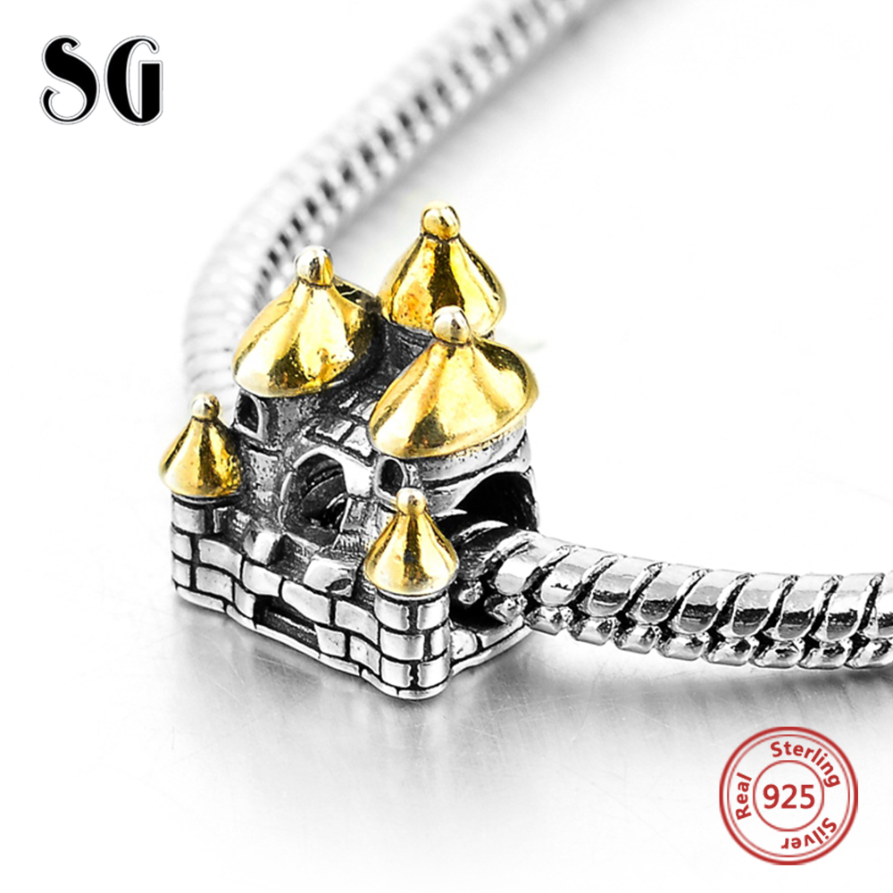 Fit Authentic Pandora Charms Bracelet Silver 925 Original Gold-Color Castle Beads For Women Sterling Silver Jewelry Berloque