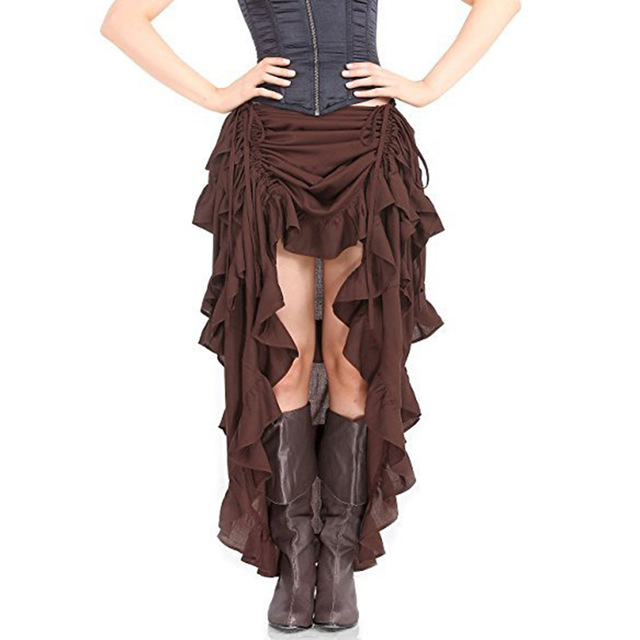 Gothic Steampunk Adjustable Asymmetrical Ruffle Front Short Back Long Lace Skirts For Women