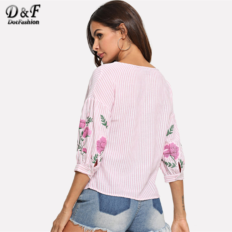 480e8da4d204 Dotfashion Pink Flower Print Lantern Sleeve Striped Top Shirt Women  Vacation Floral Clothing Summer Half Sleeve Pullovers Blouse-in Blouses    Shirts from ...