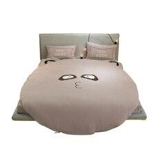Applique Embroidery Cute Cartoon Comforter Sets Queen Size Unique Round Bed  Duvet Cover 200*230