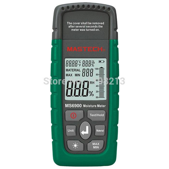 Mastech MS6900 Portable Digital Timber Wood Moisture Meter LCD Hygrometer Temperature meter Humidity Meter Tester 3 in 1 1 8 lcd digital wood timber moisture meter tester green 2 x aaa