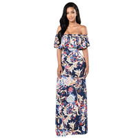 Runway Maxi Party Dress 2017 Women Party Wear Floor Length Slash Neck Strapless Floral Appliques Vintage