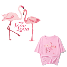 Iron on Transfer Flamingo Patches for Girl Clothing DIY T-shirt Applique Heat Transfer Vinyl Ironing Letter Patch Stickers Press iron on heart mouse patches for kids girl clothing diy t shirt dresses applique heat transfer vinyl thermo letter patch stickers