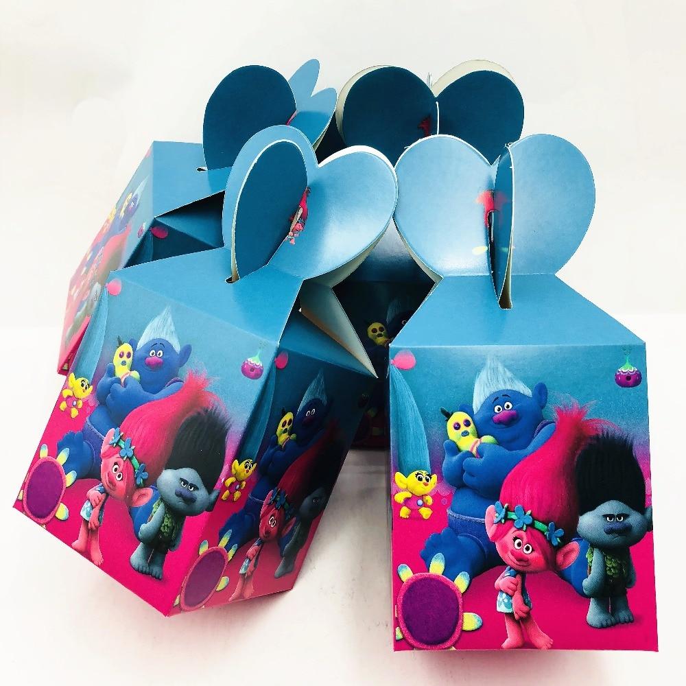 6pcs Kids Trolls Candy Box Movie Themed Birthday Party Decorations