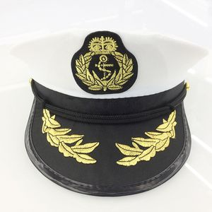 1 PC Military Nautical Hat White Yacht Captain Hat Navy Cap Marine Skipper Sailor Cap Costume For Adults Party Fancy Dress Cloth