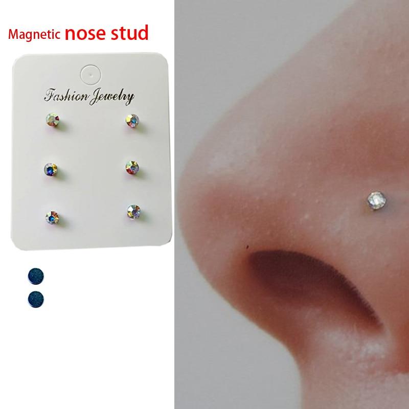 6 Pcs Of Magnetic Nose Stud Non Piercing Nose Lip Labret Stud