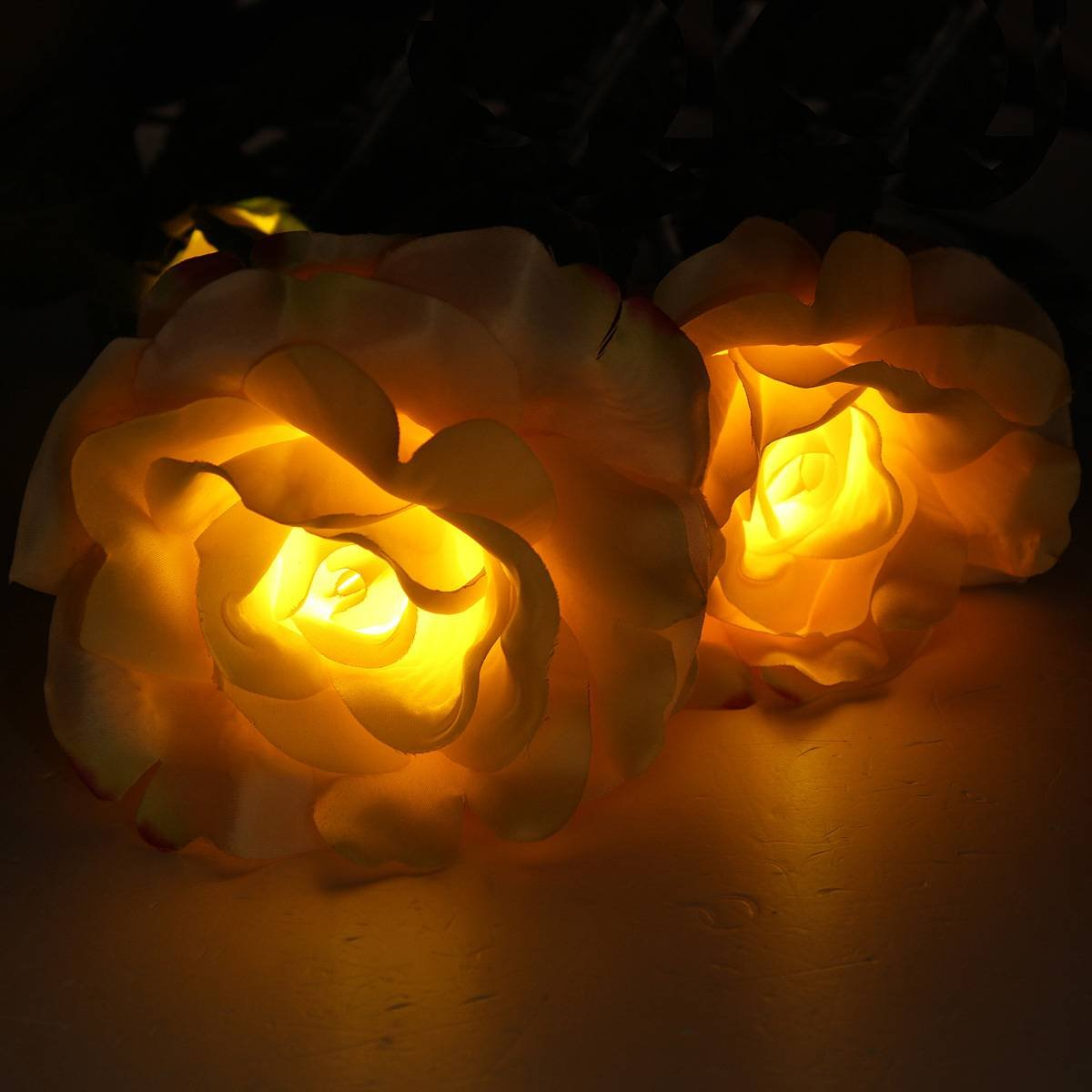 Solar Powered Yellow 3 LED Rose Flower Lights Garden Outdoor Decorative Decor Landscape Rose Light Path Lamp