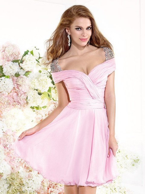 E3428 Elegant cap sleeves ruffled chiffon light pink cocktail dress ...