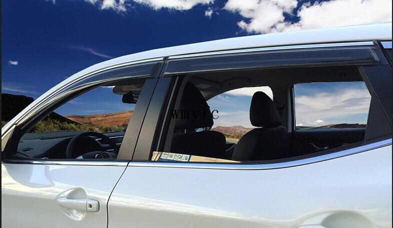 ACCESSORIES SET FIT FOR 5 2017 2018 NISSAN QASHQAI SIDE WINDOW RAIN DEFLECTORS GUARD VISOR WEATHERSHIELDS DOOR SHADE WEATHER 4pcs set smoke sun rain visor vent window deflector shield guard shade for hyundai tucson 2016