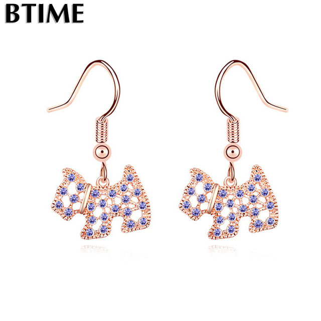 Hot Rose Gold Dog Dangle Earrings Made With For Swarovski Pendant Earring Women Jewelry Penntes Crystals