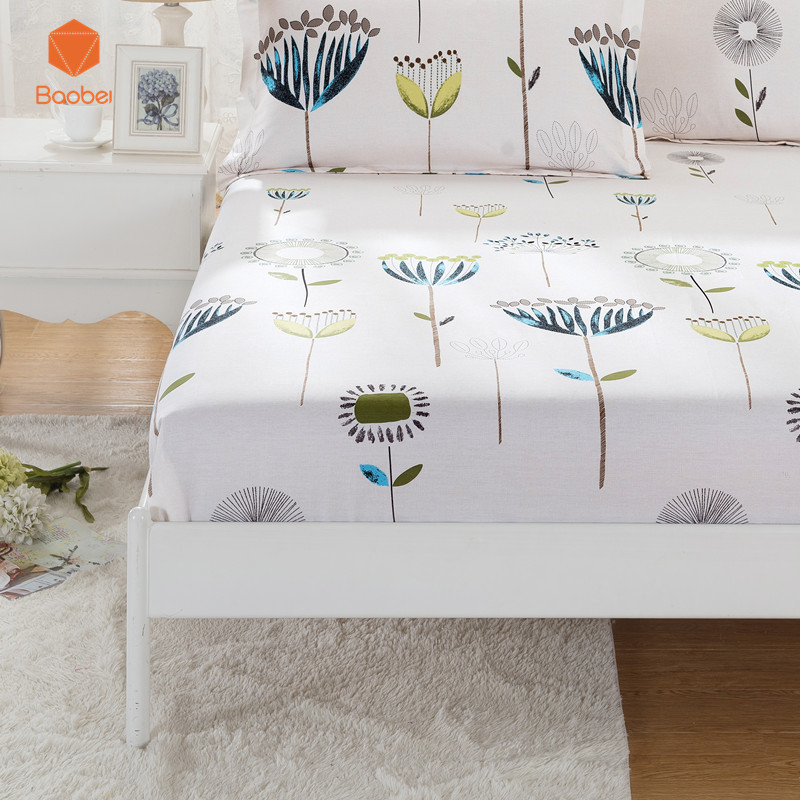 1Pcs 100 Cotton Fitted Sheet Deep 30cm Mattress Cover Printing Bedding Linens Bed Sheets With Elastic