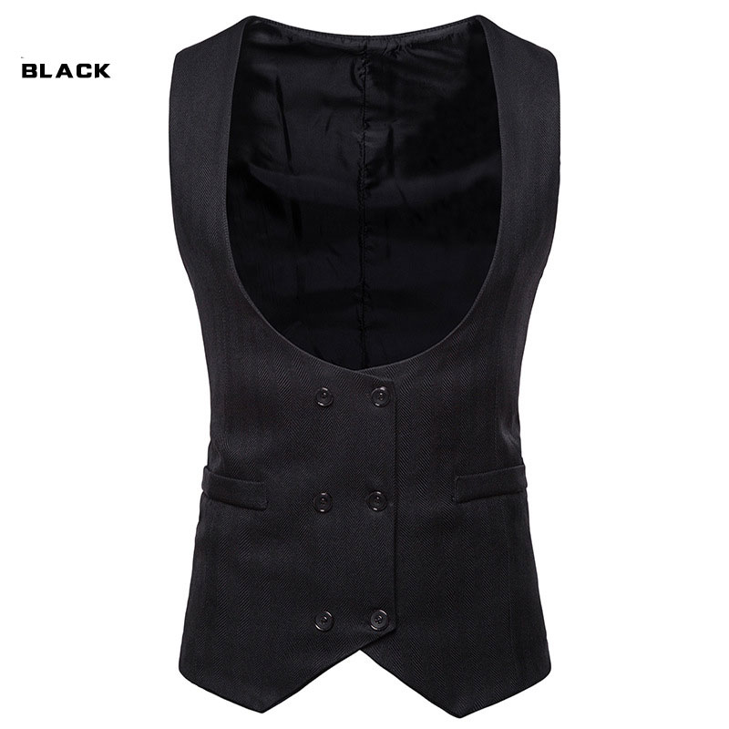 Men's Fashion Suit Vest Double-breasted Wedding Dress Men's Business Casual Suit Vest
