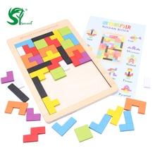 Gyermekjátékok gyerekeknek Tangram Puzzle Brain Teaser rejtvények Színes Tetris puzzle Szellemi Montessori Oktató Gyerekjáték