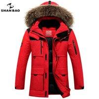 Shan Bao 2017 брендовые зимние России высококачественные толстые теплая куртка мужская досуг пуховая куртка меховое пальто с капюшоном минус 40 г...