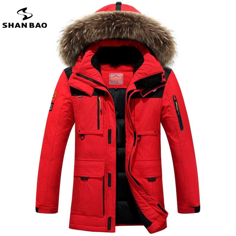 Shan Bao 2017 брендовые зимние России высококачественные толстые теплая куртка мужская досуг пуховая куртка меховое пальто с капюшоном минус 40 градусов холода