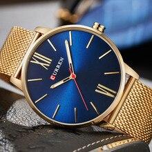 2018 CURREN Herrenuhren Top marke Luxus Gold Quarzuhr Männer Mode Wasserdicht Edelstahl Sport Uhr Männliche Armbanduhr