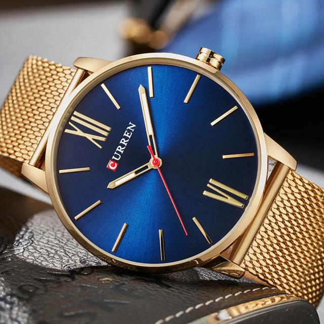 2018 CURREN Mens Watches Top Brand Luxury Gold Quartz Watch Men Fashion Waterproof Stainless Steel Sport Clock Male Wristwatch