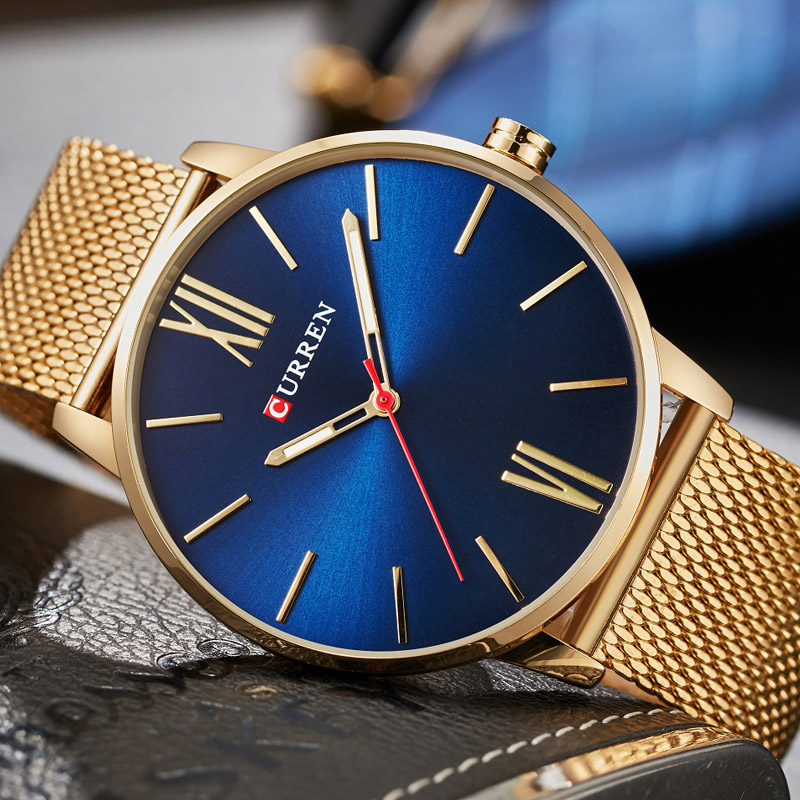 2018 CURREN Mens Watches Top Luxury Brand Orologio Al Quarzo In Oro Uomini Moda In Acciaio Inox Impermeabile Sport Orologio Da Polso Maschile
