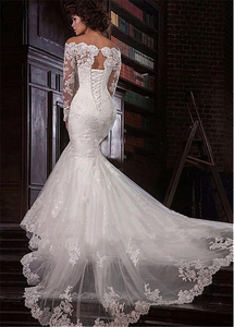Image 3 - ロマンチックなチュールオフショルダーネックラインマーメイドウェディングドレスレースアップリケプラスサイズブライダルドレス vestidos デノビア