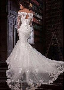 Image 3 - Romantische Tule Off De Schouder Hals Mermaid Trouwjurk Met Kant Applicaties Plus Size Bridal Dress Vestidos De novia