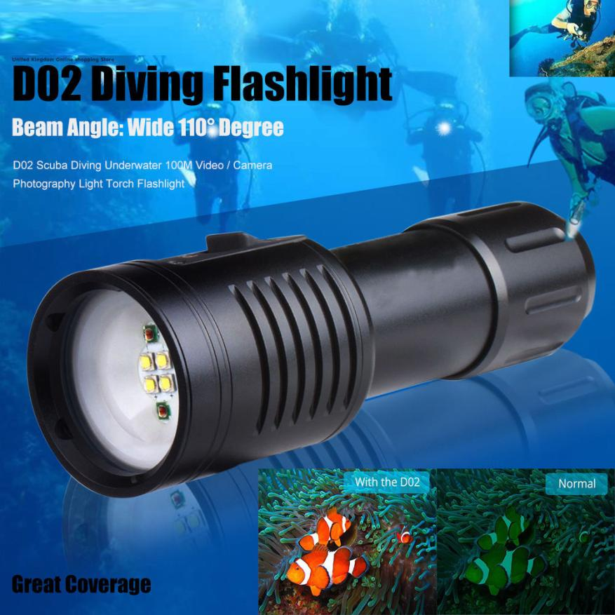 2017 NEW FREE SHIPPING D02 Scuba Diving Underwater 100M Video / Camera Photography Light Torch Flashlig O31
