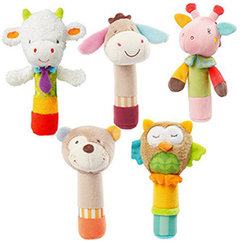 New Born Kids Baby Toys BeBe Bar Animal Squeaker Bar Toys Baby Hand Puppet Enlightenment Plush Doll Kids Soft Handbells Rattles