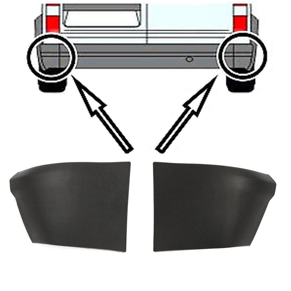 Transit Parts Transit Connect Rear Bumper Trim Cover /& 2 End Caps New New