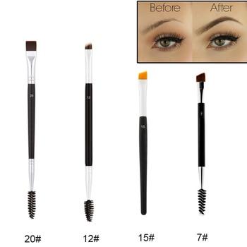 Professional Dual Sided Duo Brow Brush 12# 15# 7# 20# Eyebrow Enhancer Angled Eyebrow Brush + Comb Beauty Makeup Tool 1PCS 1