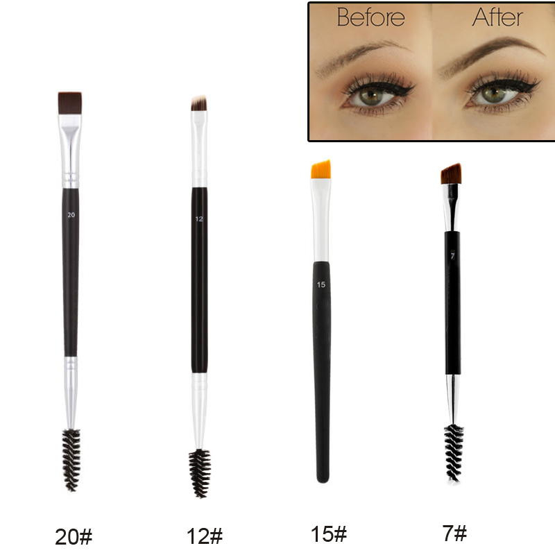 Professional Dual Sided Duo Brow Brush 12# 15# 7# 20# Eyebrow Enhancer Angled Eyebrow Brush + Comb Beauty Makeup Tool 1PCS