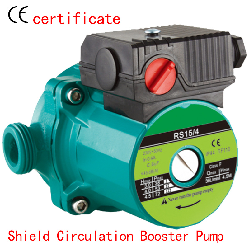 CE Approved shield circulating booster pump RS15-4, use for buildings,villas,industry pipe,boiler,hot water circulating warm fair price 2 inch inline water booster pump use japanese imported bearing booster pump 220v