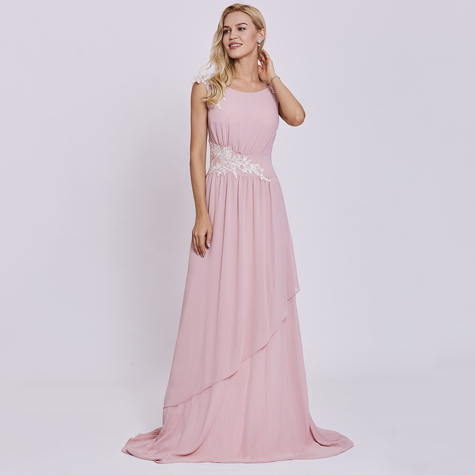 Dressv pink long   evening     dress   cheap scoop neck appliques sleeveless wedding party formal   dress   a line   evening     dresses
