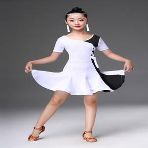 Image 3 - White black latin dance competition dresses latin dance dress for girls kids latin dance costume for girls kids