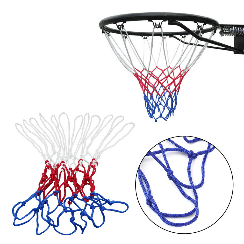 1pc thick 5mm Red White Blue Basketball Net Nylon Hoop Goal Rim Mesh Net Hot Sale