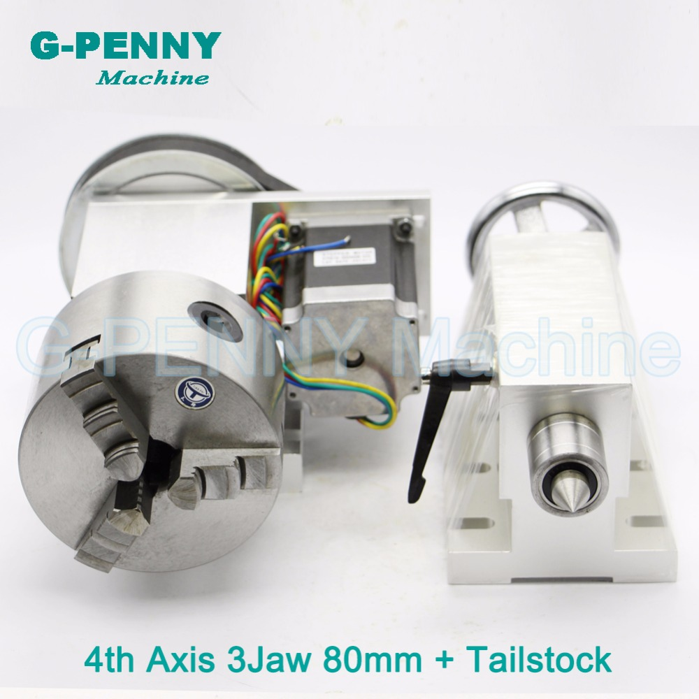 3 Jaw CNC 4th Axis / A axis 80mm chunk +Tailstock dividing head/Rotation 6:1 A axis kit for Mini CNC router engraver engraving