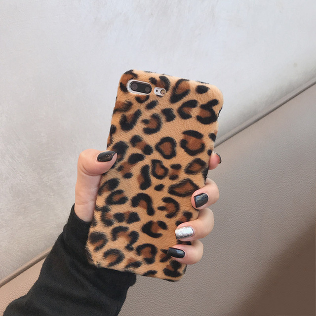 Leopard Wool iPhone Case 2019 - Luxury Warm Fuzzy Back Cover Soft Cases 1