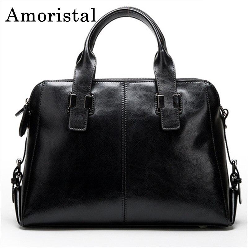 Black Cow Leather Ladies Handbags Women Bags Genuine Leather Totes Messenger Bags Hign Quality Designer Luxury Brand Bag B159