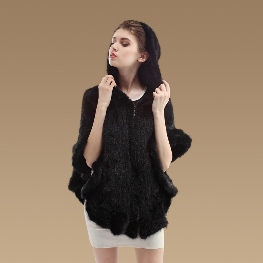 [YCFUR] Women Winter Stoles Ponchos Female Zipper Knit Mink Fur Shawls   Scarves   Hood Mink   Scarves     Wraps   Female