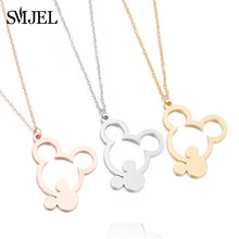 SMJEL Cute Double Mickey Necklaces for Women Kids Jewelry Stainless Steel Animal Necklace Long Chain Collier Birthday Gifts(China)