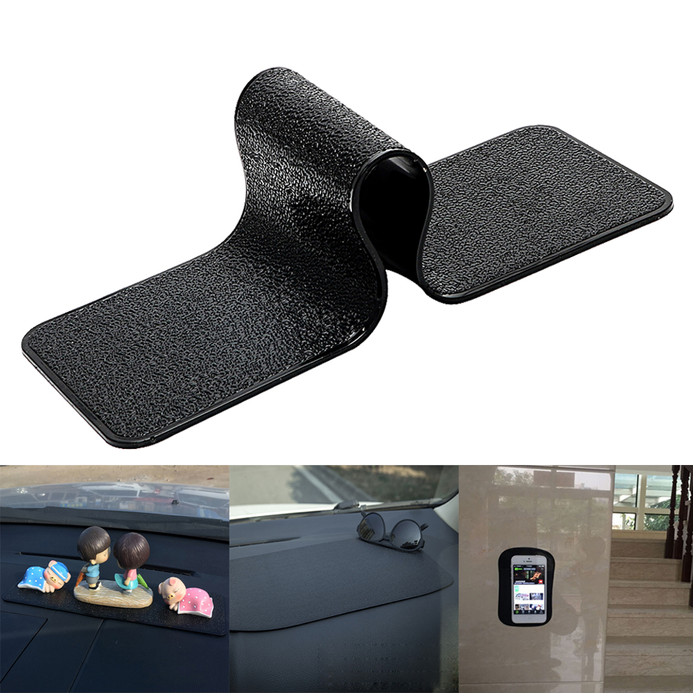 Car Dashboard Sticky Pad Gel Magic Non-Slip Mat Key Glasses Coin Holder Long Anti-slip Mat For Mobile Phone PU Leather Texture
