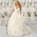DW2325 Ruffles Ball Gown Wedding Dresses Real Photo Lace With Crystal Sash V Neck Bridal Dress Vestido De Noiva