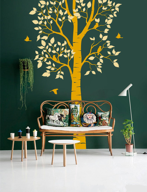 individual design large nature tree wall decal with birds vinyl wall